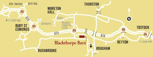 Map to Blackthorpe Barn