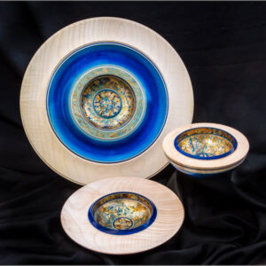 Three wooden bowls by Dennis Hales