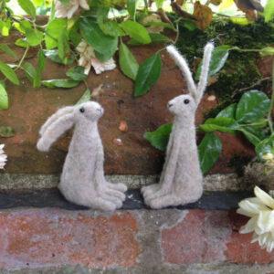 2 x Felt Hare