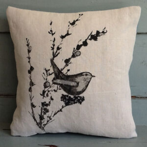 Wren abd willow cushion by Thread and Ink